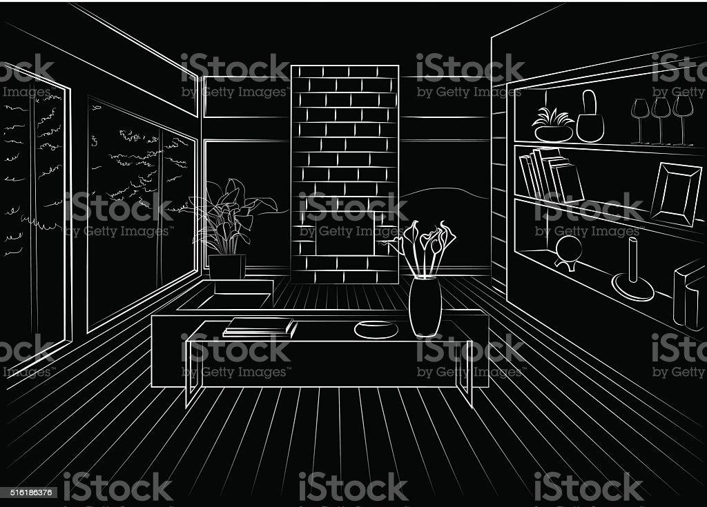 Interior living room vector art illustration