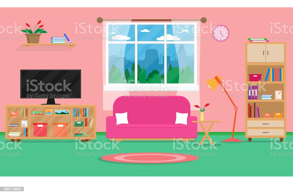 Interior Living Room With Furniture And Windowvector And ...