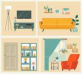 Interior. Living room with sofa, table, lamp, pictures, window, TV. Vector flat style illustration.