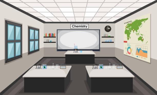 化学実験室の内部 - 理科の授業点のイラスト素材/クリップアート素材/マンガ素材/アイコン素材