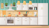 Interior of a cozy kitchen with furniture and appliances. Vector illustration in flat style.