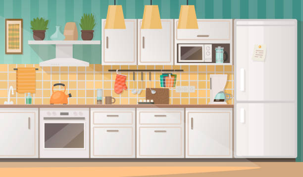 illustrazioni stock, clip art, cartoni animati e icone di tendenza di interior of a cozy kitchen with furniture and appliances. vector illustration - cucina domestica