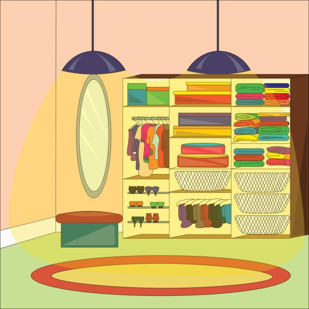 innenministerium ein ankleidezimmer mit möbeln und kleidung - schrankkorb stock-grafiken, -clipart, -cartoons und -symbole