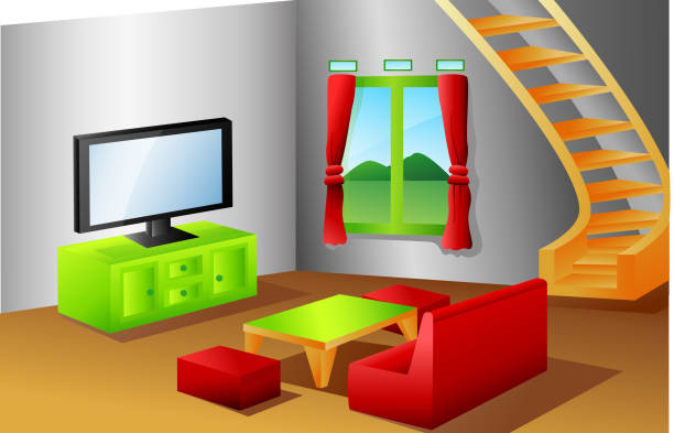 Best Cartoon Of A Tv Stand Illustrations Royalty Free