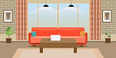 Interior of a large living room. Modern and trendy flat design. High detailed vector illustration.