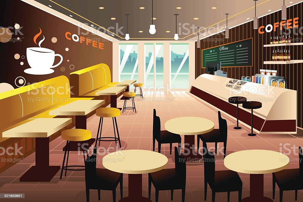 Interior of a modern coffee shop vector art illustration