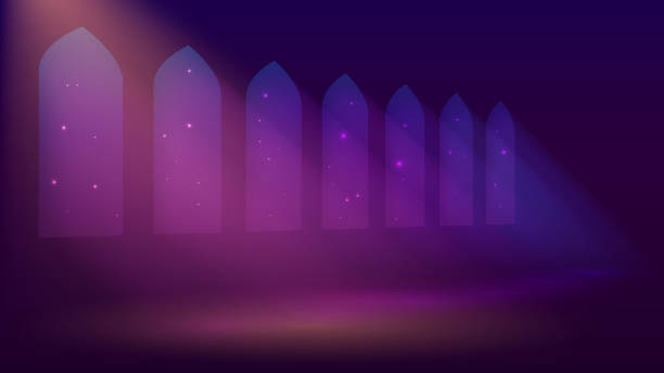 Interior of a mosque or castle vector art illustration
