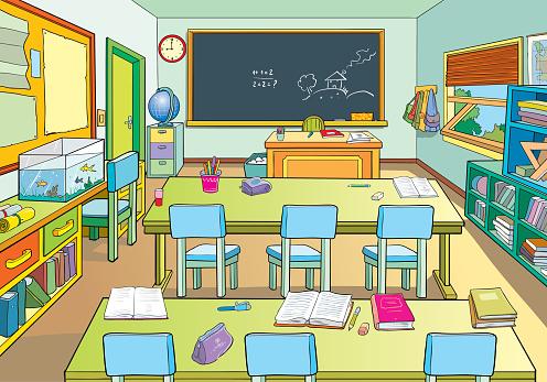 Interior Of A School Classroom Stock Illustration ... (496 x 347 Pixel)