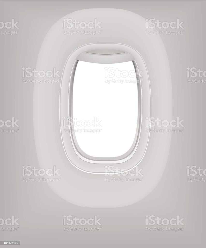 Interior of Aircraft. Plane window (porthole). Travel by Airplane. Vector royalty-free stock vector art