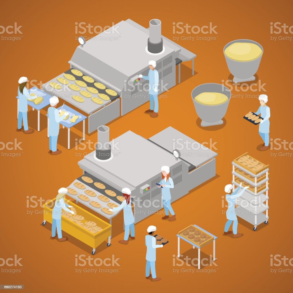 Interior of Baking Production. Isometric vector art illustration