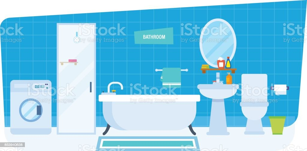 Interior Of Bathroom With Household Appliances Furniture Household ...