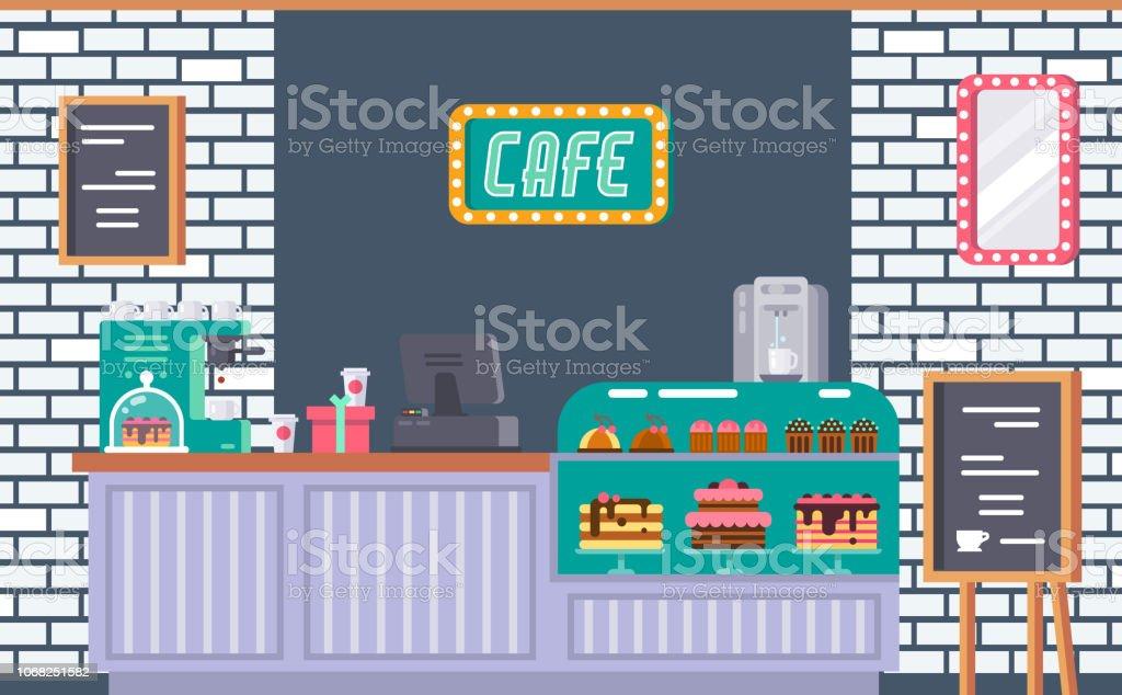 Interior of cafe building facade, coffeeshop, counter, bar counter...