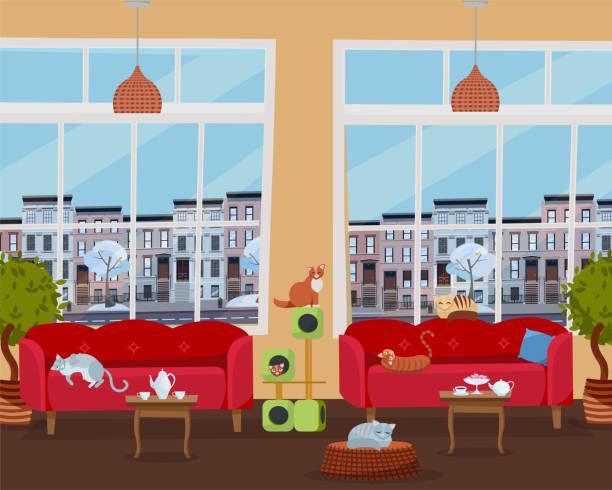 inneneinrichtung des katzencafés mit großen fenstern, bequemen roten sofas, tischen mit tee und kaffee. viele katzen auf möbeln und katzenhaus mit farbe kratzseil. flache cartoon-stil vektor-illustration - leinensofa stock-grafiken, -clipart, -cartoons und -symbole
