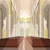 Beautiful view on nave from altar inside Cathedral Church. Interior of Catholic Basilica with sun rays from windows. Simplified realistic hand draw comic art style