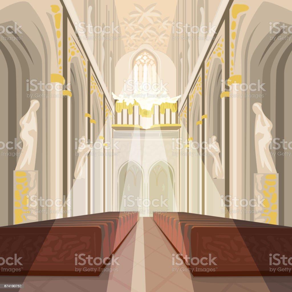 Interior of Cathedral Church or Catholic Basilica vector art illustration