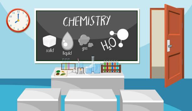 化学教室のインテリア - 理科の授業点のイラスト素材/クリップアート素材/マンガ素材/アイコン素材