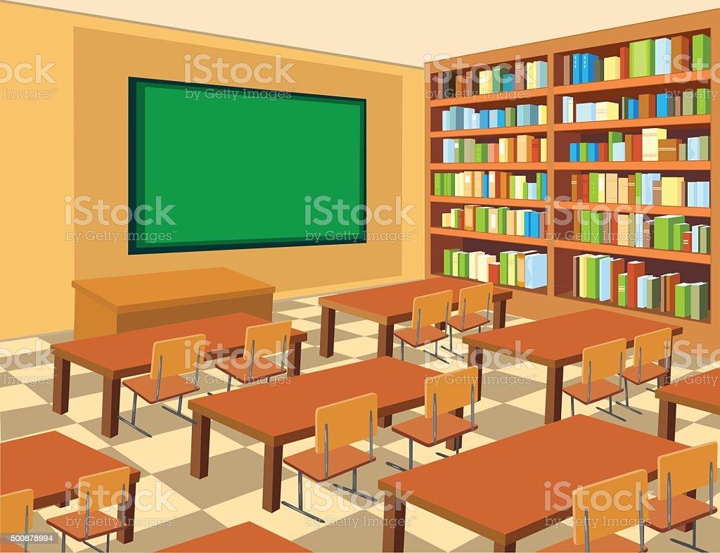 Ilustraci n de interior de un sal n de clases y m s banco for Cursos de muebleria gratis