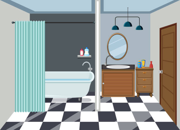 innere des sauberes bad - badezimmer stock-grafiken, -clipart, -cartoons und -symbole
