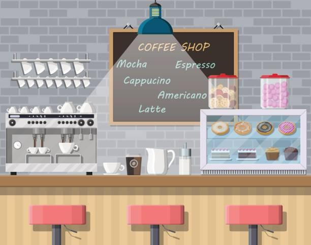 ilustrações de stock, clip art, desenhos animados e ícones de interior of coffee shop, pub, cafe or bar. - coffe shop