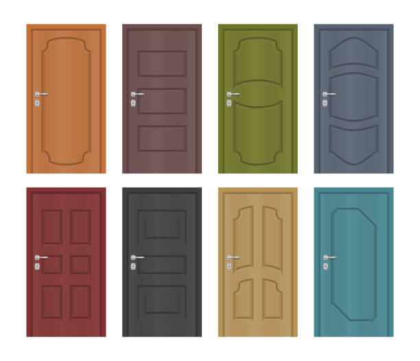Interior of colored entrance doors, vector set Interior of colored entrance doors, vector set door stock illustrations