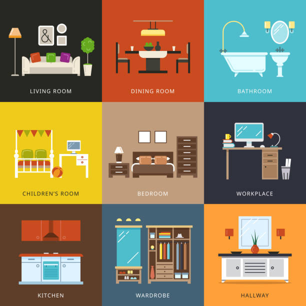 innenraum aus verschiedenen zimmerkategorien. vektor-illustration in flachen stil - küchensystem stock-grafiken, -clipart, -cartoons und -symbole