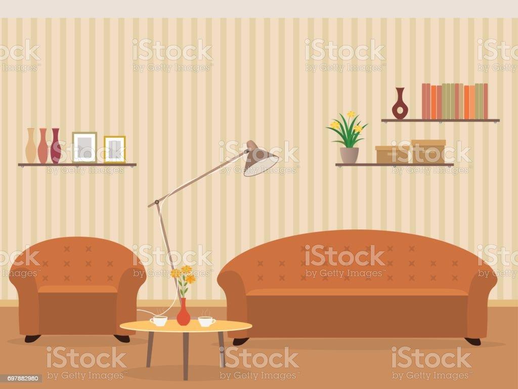 Innenraum Wohndesign In Flachen Stil Mit Möbel Sessel Sofa Lampe ...
