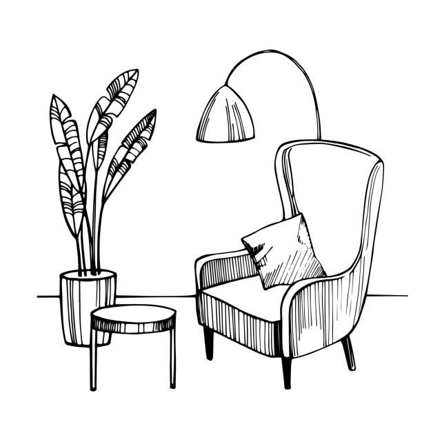 ilustrações, clipart, desenhos animados e ícones de interior da sala de estar. ilustração do esboço do vetor. - conceitos e temas