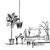 Interior of living room. Vector sketch  illustration.