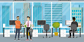 Interior of modern office or coworking place with furniture,three workplace,different male businessmen working and talking,back and profile view,flat vector illustration.