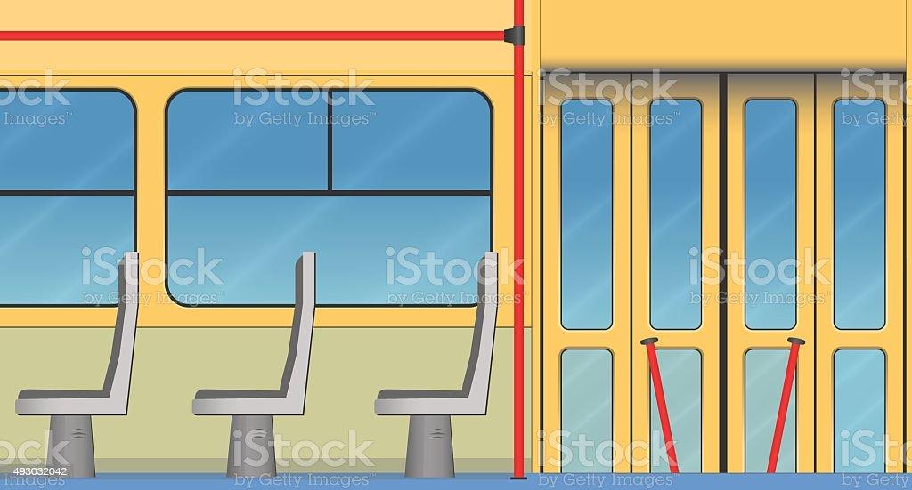Innenraum Der Alten Straßenbahn Lizenzfreies Vektor Illustration