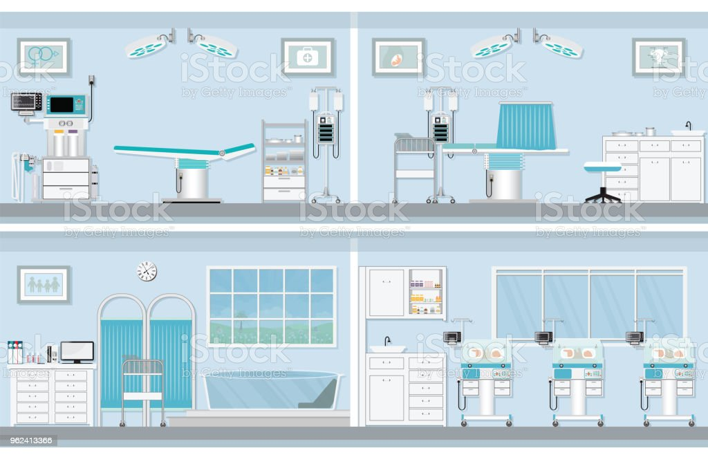 Interior of operating room for birthing of pregnant woman. vector art illustration
