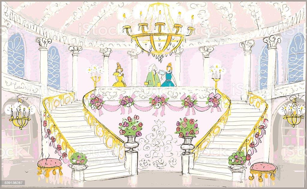 Interior of palace vector art illustration