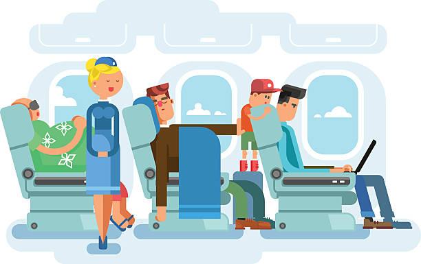 illustrazioni stock, clip art, cartoni animati e icone di tendenza di interno di aerei, flat design - sedili aereo
