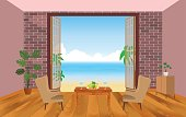 Interior of resort hotel room with armchairs, table and outlet to the sea. Vector illustration in flat style