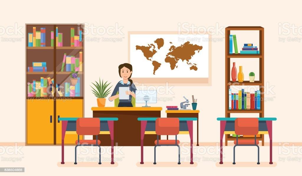 教師のための部屋のインテリア。学校の労働者は、クラスの先生。職場 ベクターアートイラスト