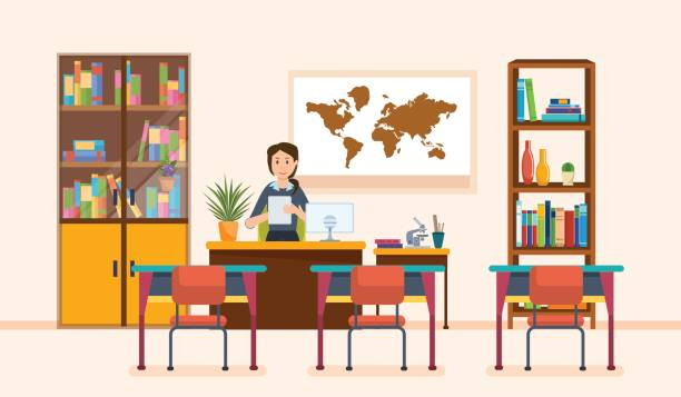 Interior of room for teacher. School worker, class teacher. Workplace Interior of room for teacher. School worker, teacher in classroom at school. Workplace. Education and training. Class for education, board, table, study, blackboard and lesson. Vector illustration elementary school teacher stock illustrations