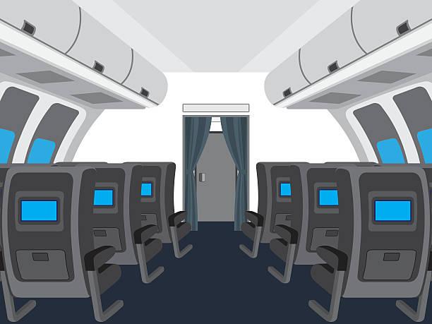 interior of salon of the plane. - airplane seat stock illustrations
