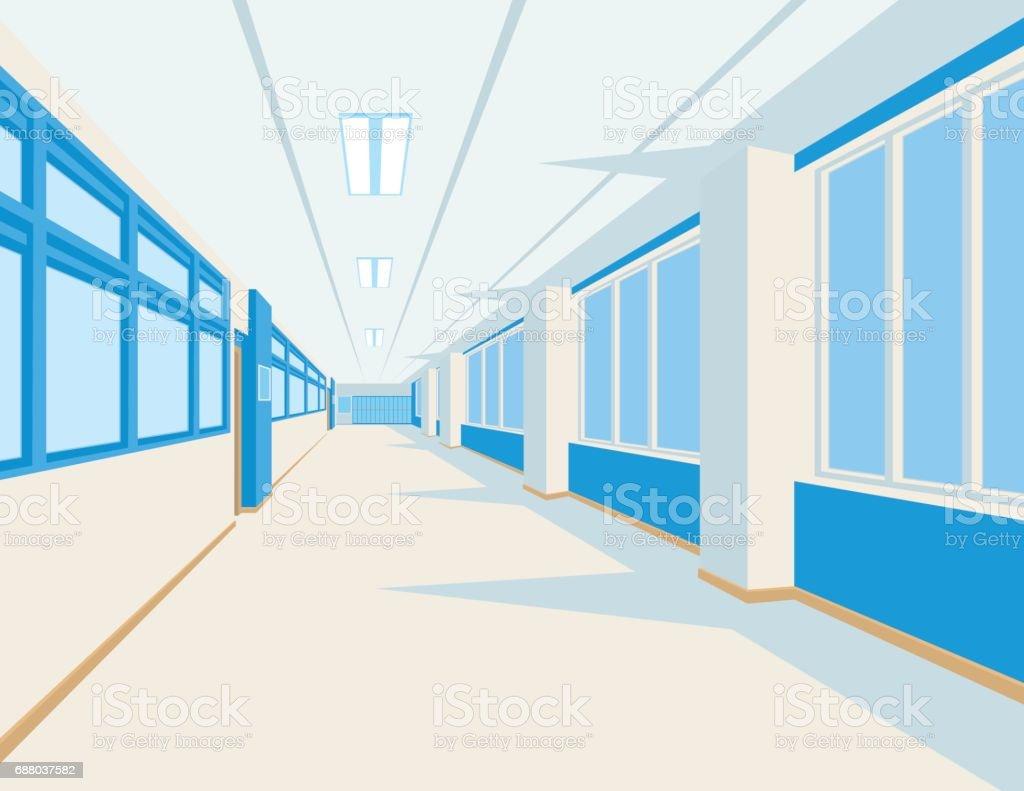 Interior of school hall in flat style. Vector illustration of university or college corridor with windows. vector art illustration
