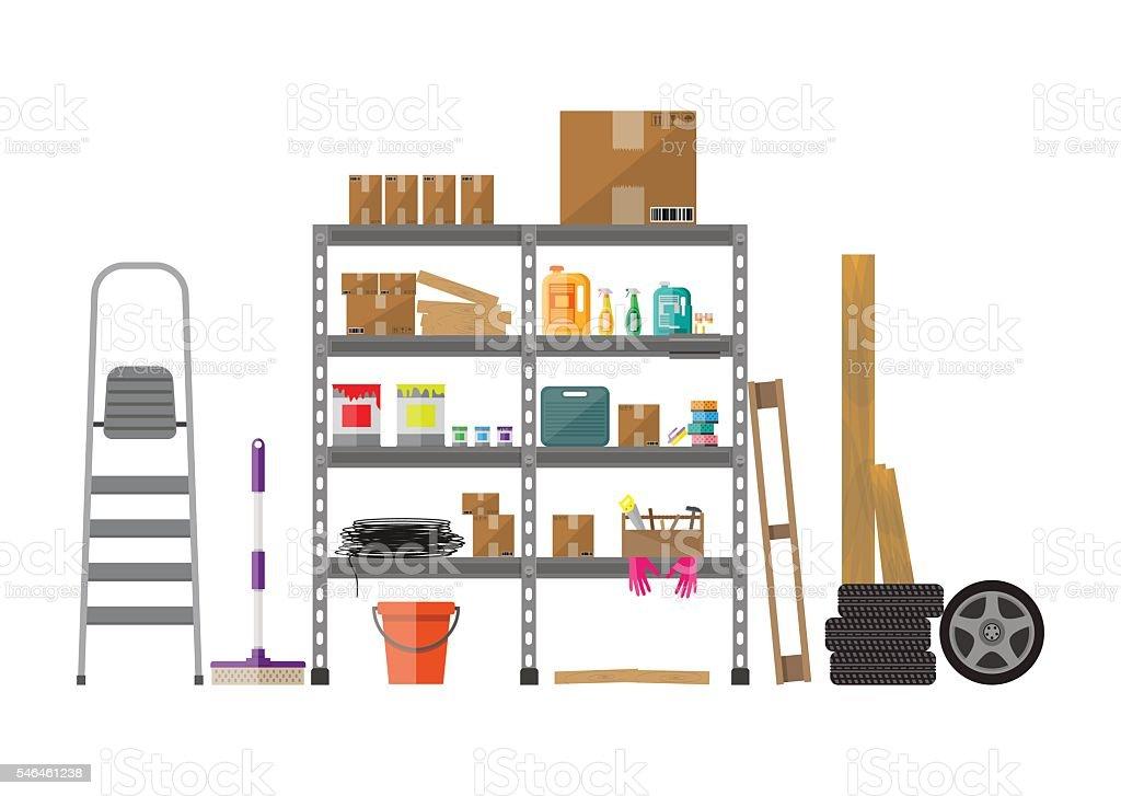Interior of storeroom vector art illustration