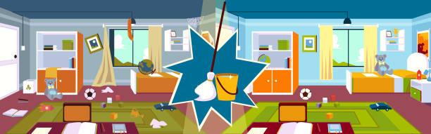 inneneinrichtung des kinderzimmers vor und nach der reinigung mit mop und eimer im cartoon-stil. - stapelbett stock-grafiken, -clipart, -cartoons und -symbole