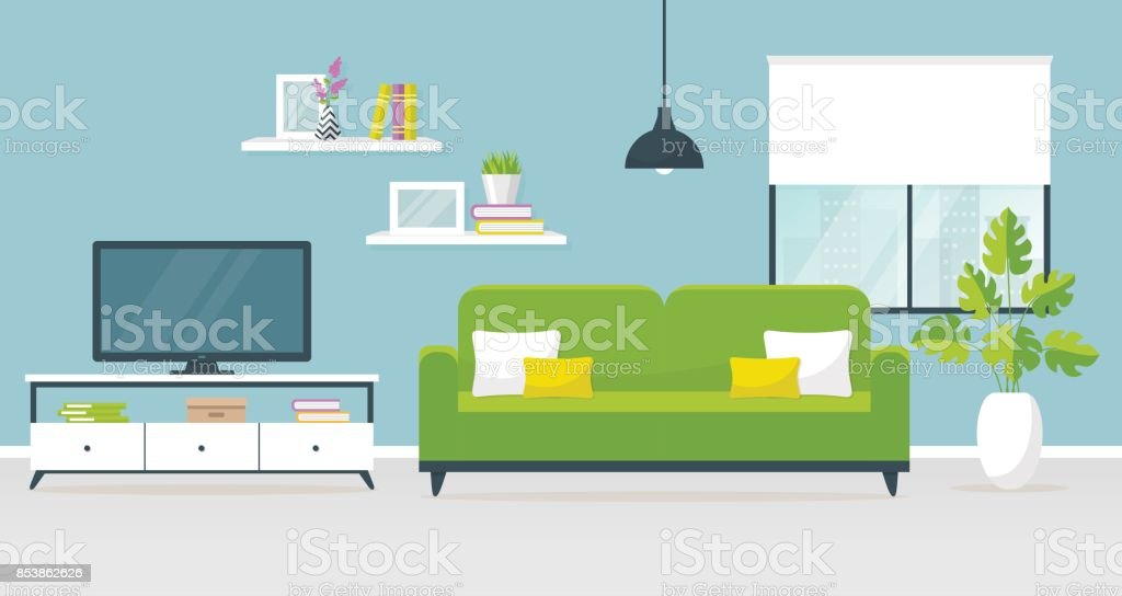 Amazing Interior Of The Living Room. Vector Banner. Royalty Free Interior Of The  Living