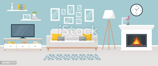 istock Interior of the living room. Vector banner. 853862724