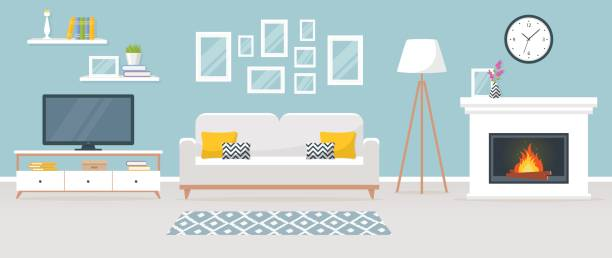 interior of the living room. vector banner. - living room stock illustrations, clip art, cartoons, & icons