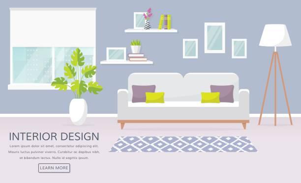ilustrações de stock, clip art, desenhos animados e ícones de interior of the living room. vector banner. - living room background