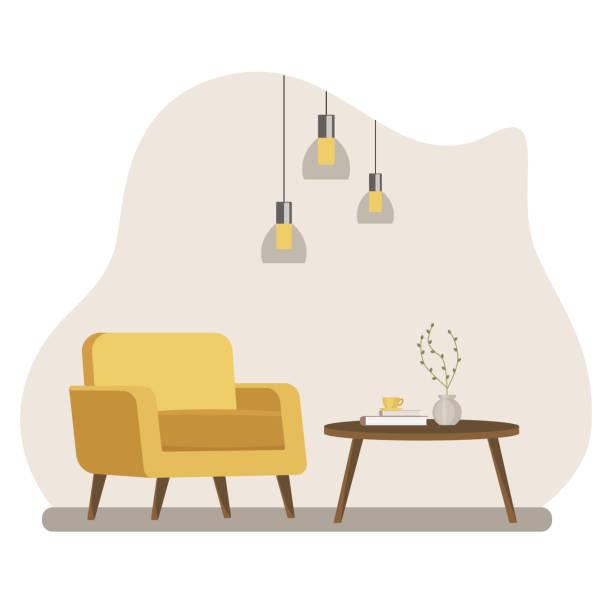 家具付きのリビング ルームのインテリア。フラットな漫画のスタイル。ベクトル図 - リビング点のイラスト素材/クリップアート素材/マンガ素材/アイコン素材