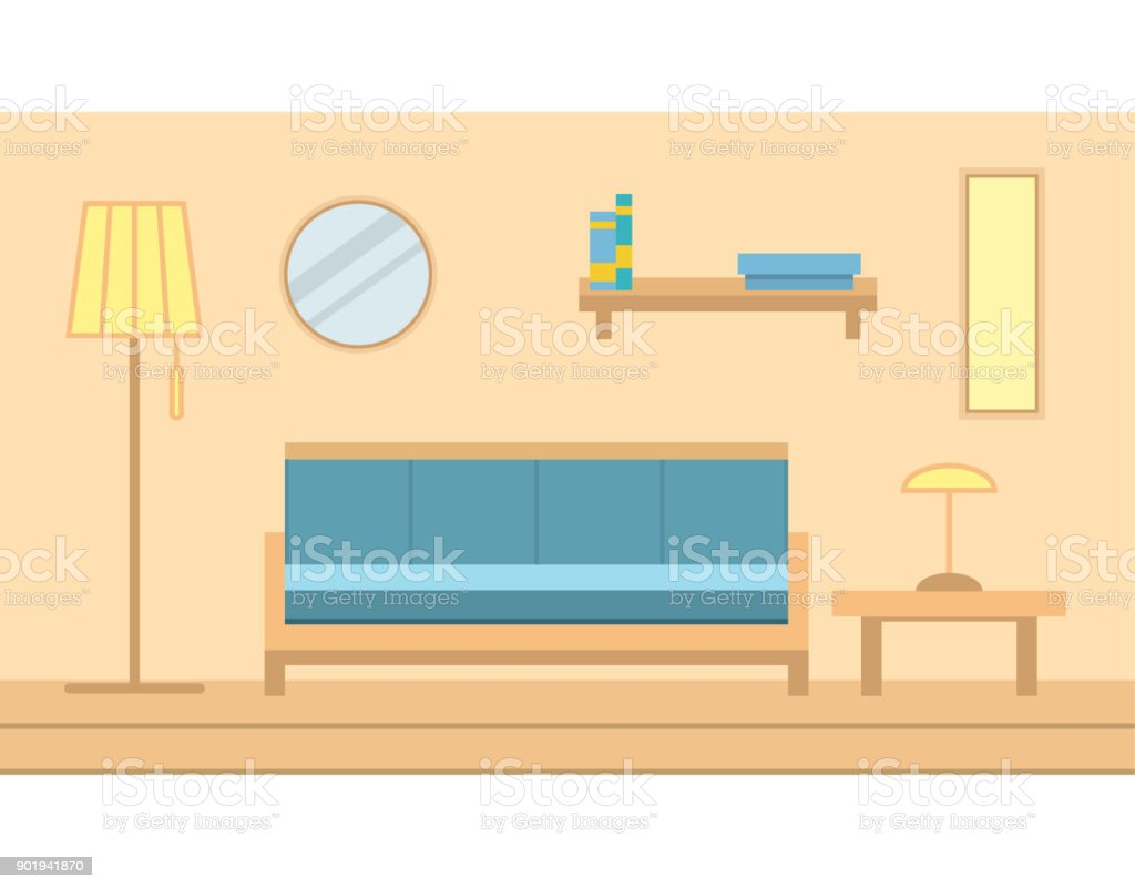 Interior Of The State Muddy Room With Furniture. Indoors There Are A Sofa,  The