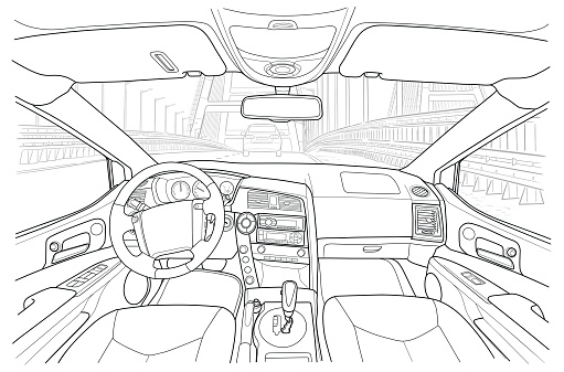 Interior of the vehicle. Vector line illustration on white background
