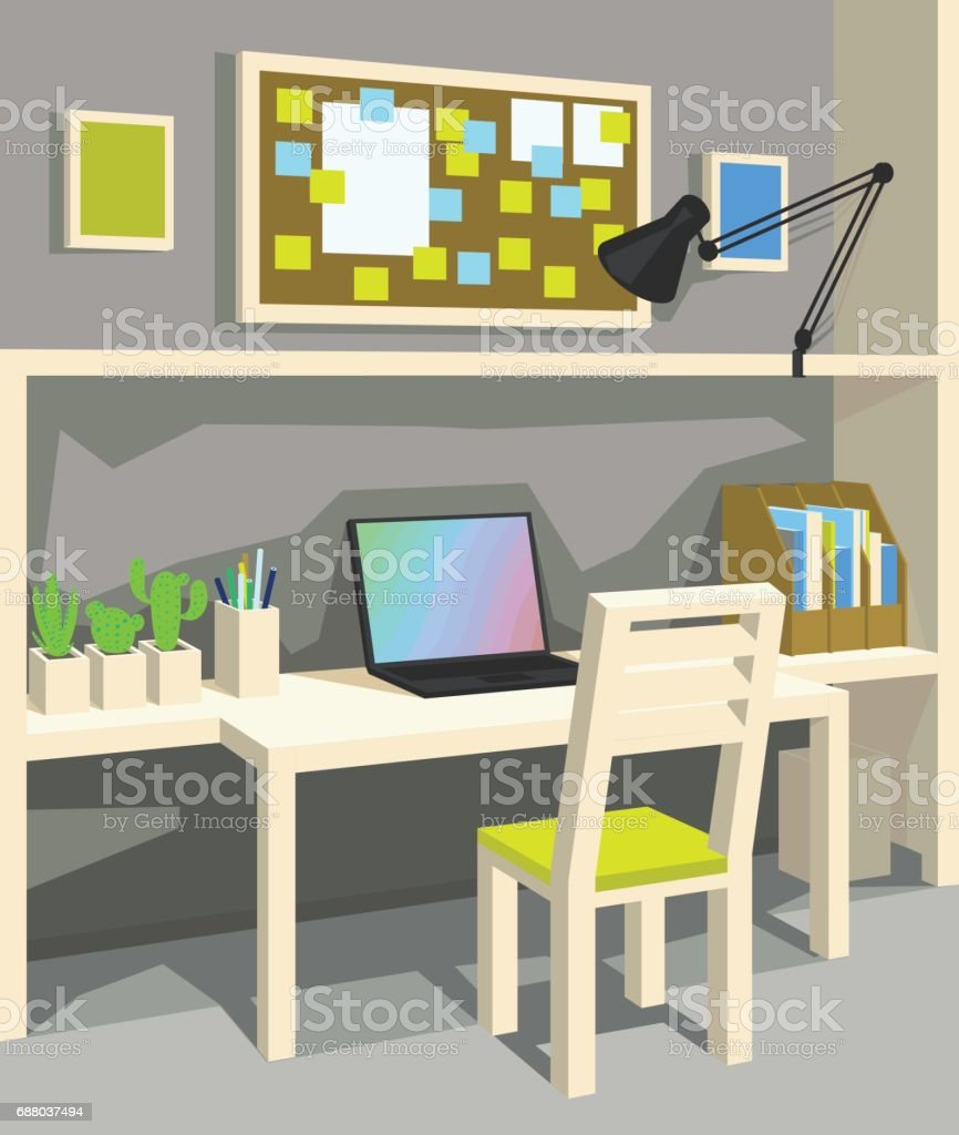 Interior of workplace in cartoon style. Perspective. Home Office in Grey Color. vector art illustration