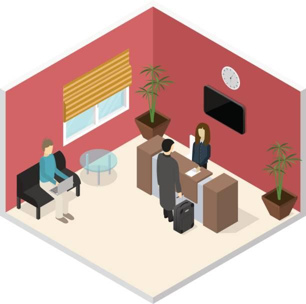 büro oder hotel rezeption isometrische innenansicht. vektor - rezeptionseingang stock-grafiken, -clipart, -cartoons und -symbole