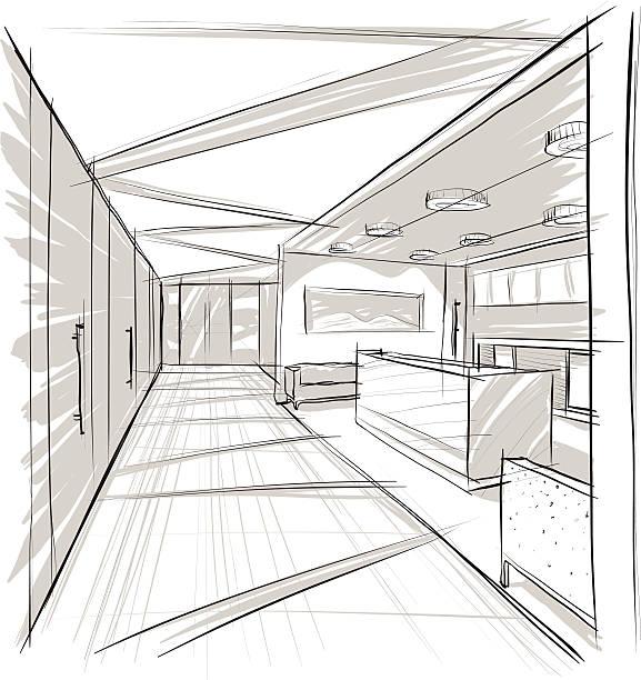 Interior. Office. vector art illustration